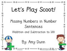 Addition and Subtraction Scoot. Missing numbers in number sentences.