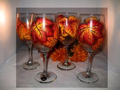Hey, I found this really awesome Etsy listing at http://www.etsy.com/listing/83920480/fall-leaf-wine-glasses