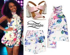 Leigh Anne Pinnock posed in an instagram with her bandmates before their performance on The Today Show this morning wearing a Finders Keepers Slow Goodbye Top ($127.00) and matching Shake It Out Shorts (AUD$119.95), with her Office Garland Strappy Block Heels ($68.00, wrong colors).
