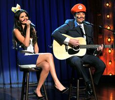 "Selena Gomez and Jimmy Fallon sang a ""Mario Kart Duet"" on the March 19 episode of Late Night with Jimmy Fallon in NYC."