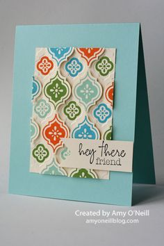 Supplies Used: Stamps:  Mosaic Madness, Hey There (from My Paper Pumpkin) Ink:  Tempting Turquoise, Pool Party, Pumpkin Pie, Gumball Green, Basic Black Paper:  Pool Party, Whisper White Embellishments:  Mosaic punch , Modern Mosaic embossing folder