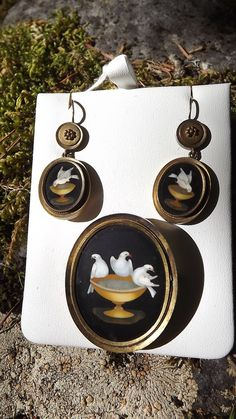 Museum Quality Set of Pietra Dura Victorian Earrings and Brooch 14k yellow gold c. the mid 1800's. Pietra Dura is a term used for the inlay technique of using cut and fitted, highly-polished colored stones to create images. Brooch is a memorial locket as well.