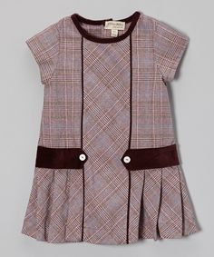 Take a look at this Purple Plaid Pleated Cap-Sleeve Dress - Infant, Toddler & Girls on zulily today!