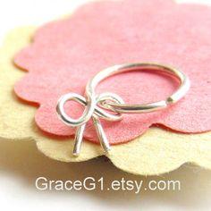 silver bow cartilage hoop earrings cartilage earrings by GraceG1, $35.99