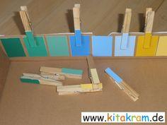 Farben unterscheiden und die Fingermotorik schulen.