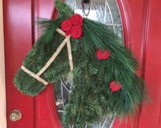 Ready to ship Draft Horse Wreath with Red Burlap Christmas Diy, Christmas Wreaths, Christmas Decorations, Country Christmas, Run For The Roses, Horse Silhouette, Wreath Hanger, Bazaar Ideas, Draft Horses