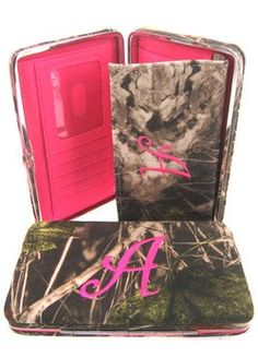 30% Off was $29.99, now is $20.99! Soft Camo Initial  A  Thick Flat Wallet Clutch Purse Hot Pink Camoflauge