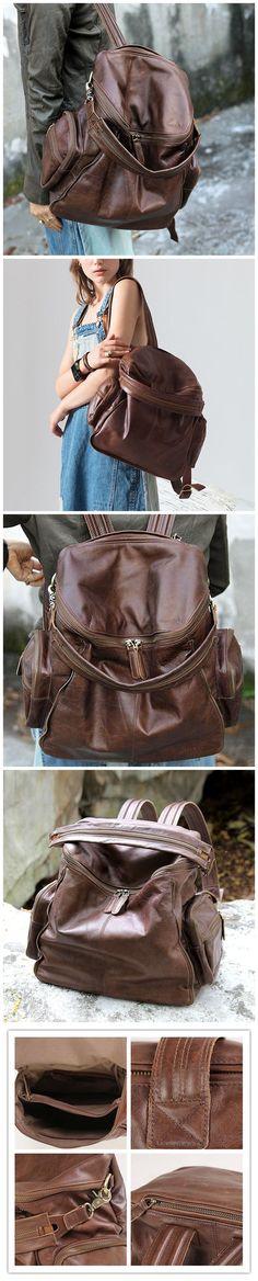 Handmade Backpack Full Grain Leather School Backpack Travel Backpack KP86120 Canvas Backpack, Travel Backpack, Leather School Backpack, Fashion Bags, Womens Fashion, School Backpacks, Leather Men, Leather Handbags, Women's Bags