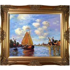 Claude Monet 'Zaan at Zaandam' Hand Painted Framed Art