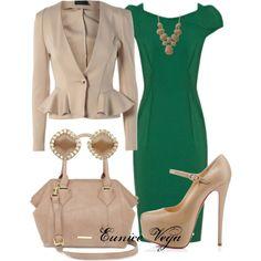 """Alexie Green Dress"" by eunice-perez-de-vega on Polyvore"