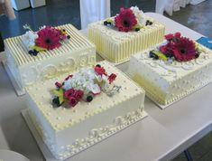 With no flowers...    Google Image Result for http://www.macrinabakery.com/img/photos/wedding_cakes/sheet_cakes/sheetcake3_lg.jpg