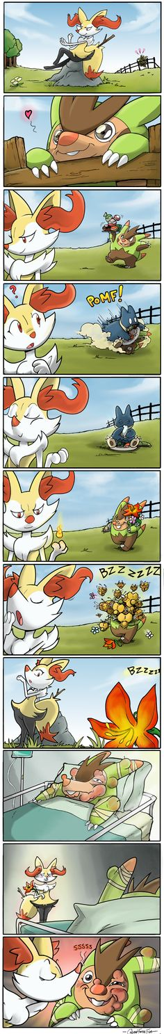 It's The Thought That Counts by QuadForceFive.deviantart.com featuring Pokemon X and Y starters Braixen and Quilladin.