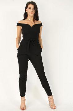 V-Bar Bardot Black Jumpsuit