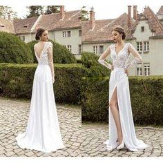 Elegant deep v neck slit white applique chiffon prom dresses full sleeve summer wedding party gown