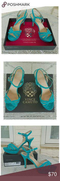 """NWB, Vince Camuto Peppa Platform Sandals Elevate any look in your closet with the elegant Peppa Sandal from Vince Camuto. They intertwined beautiful straps across the toe and ankle for a minimal yet polished look. The petite ankle strap, slender heel and rounded platform add to the graceful air. Color is beautiful Turquoise. Size 10M. True Suede. 4"""" heel; 1"""" platform Leather upper, man-made lining and sole Imported Vince Camuto Shoes Platforms"""