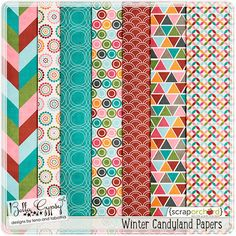 Free Winter Candyland Paper Pack from Bella Gypsy Designs