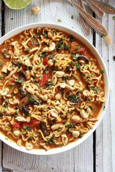 Thai Peanut Chicken and Ramen Noodle Soup | halfbakedharvest.com (for inspiration)