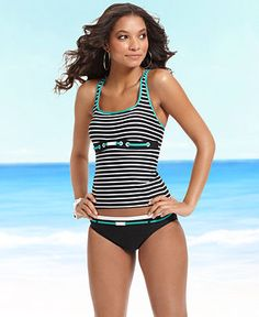 Nautica Swimsuit, Striped Racerback Tankini Top & Logo Belt Brief - Womens Shop Junior Swim - Macy's    This top might work perfectly for her!