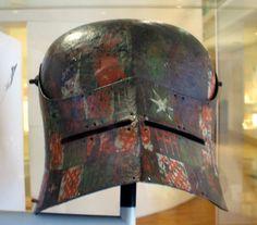 """black sallet"" painted Medieval Helmets, Medieval Armor, Helmet Paint, Mask Painting, Landsknecht, Arm Armor, Helmet Design, 15th Century, Middle Ages"