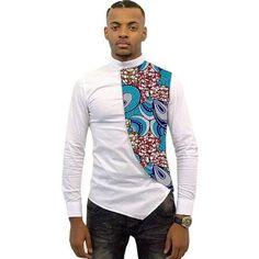 Asymmetrical Men's African Shirts, Men Kitenge Dashiki Shirt, Slim Fit African Clothing