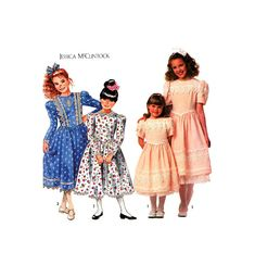 90s Simplicity 9933 Jessica McClintock Flower Girl, Bridesmaid, Party Dress with Tulle Petticoat, Uncut, F/Folded, Sewing Pattern Size 7-14 Lace Overlay, Lace Trim, Calf Length Dress, Jessica Mcclintock, Lace Collar, Fitted Bodice, Sewing Patterns, Party Dress, Tulle
