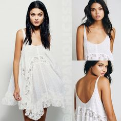 FREE PEOPLE She Swings Slip free people she swings slip  a twist on an free people classic, this extra swingy slip features a sweet print with lace inserts and an uneven hem. a sheer style; wear on its own or pair with one of free people's signature seamless styles to complete the look.   ⠀† small ⠀† color: ivory combo ⠀† scoop neck & back ⠀† lace inset body, asymmetric tiered-lace hem ⠀† babydoll silhouette  ⠀† 100% rayon ⠀† new with tags  disclaimer: ⠀✗ i do not trade ⠀✗ no lowballing…