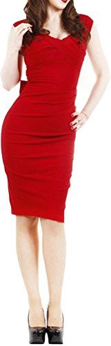 MUXXN Women's Retro Love Bow Hollow Back Sexy Slim Dress Size M Color Red