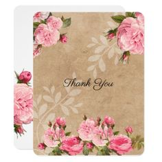 Romantic Vintage Pink Roses  Wedding Thank You Card - romantic wedding gifts marriage party idea cyo custom