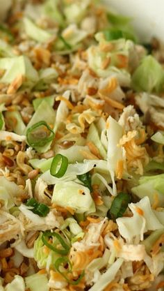 Ramen Noodle Oriental Chicken Salad I cut the oil in half and add a tad more rice wine vinegar. Sometimes I shake half of one of the seasoning packets into the dressing and omit the salt.