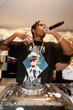 ASAP Rocky wearing Vintage Marilyn Manson - Mens Officer T-shirt