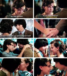 """- You look great. Do you want to dance? """"I ... I do not know how."""" - I also. Do you want to find out? #strangerthings #mikewheeler #finnwolfhard #millibobbybrown"""