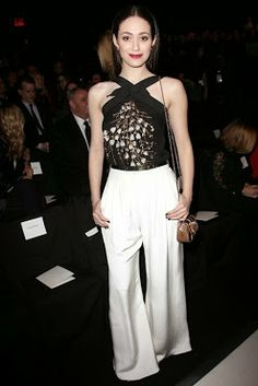 Emmy Rossum with top and palazzo trousers by Carolina Herrera