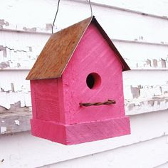 Flamingo Hot Pink Birdhouse Rustic Industrial by baconsquarefarm, $20.00