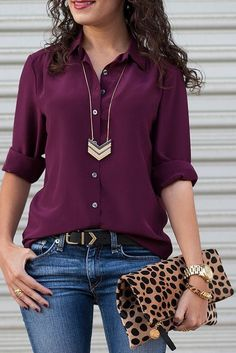 love this color blouse.. eggplant denim jeans arrows accessories