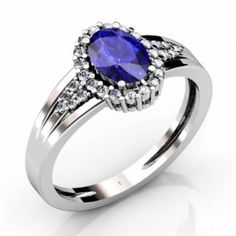 An extremely dazzling ring consisting of an oval tanzanite of almost 1.000 carats enclosed with around 28 round diamonds of 0.260 carats makes it look more enticing. The blue radiance of tanzanite when fused with white sparkle of diamond alters the ambience with its illumination and makes it look more artistic and divine. Beautifully engraved on 14k white gold, it renders an extremely flawless appearance.