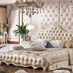 Mode meubles de chambre à coucher en chêne : 1 lit, 1 côté table et 2 fleur Stands(China (Mainland))