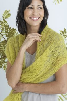 Practice knitting lace and work up this stunning Savannah Wrap in Silk Mohair to wear over your shoulders at a summer wedding or dinner party.