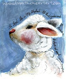 """Blue & Pink Lamb """"I Shall Not Want"""" Print (Psalm 23) www.fromtheheartart.com"""