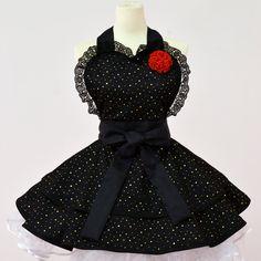 Sexy Black  Lolita Costume Apron. $62.00, via Etsy.