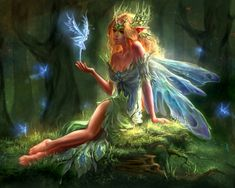 Forest Elf and the Little Fairies - glowing, blue, flying, hand, trees, sitting, forest, lovely, fairies, girl, elf