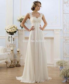 Novo Banco de Vestido De Novia EUA Tamanho 4 22 Branco/Marfim Apliques Chiffon…