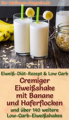 Eiweißshake mit Banane und Haferflocken – Low-Carb-Eiweiß-Diät-Rezept Making a protein shake with banana – a healthy low carb diet recipe for breakfast smoothies and protein shakes to lose weight – without added sugar, low in calories, healthy … carb Low Carb Protein, Low Carb Diet, Healthy Protein, Protein Smoothies, Healthy Eating Tips, Healthy Nutrition, Healthy Food, Menu Dieta, Dieta Paleo