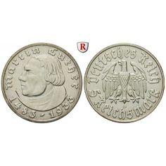 Drittes Reich, 5 Reichsmark 1933, Luther, D, f.vz, J. 353: 5 Reichsmark 1933 D. Luther. J. 353; fast vorzüglich, Kratzer und Rdf.… #coins