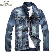 Denim Jacket Men Casual Washing Jeans Slim Fit Pockets Turn-down Collar Fashion Outwear Coat MWJ1768