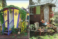And I need a gypsy wagon in my back yard. Maybe a couple. It could be my guest house or for when I need a mental break. Or tea parties. Gypsy Trailer, Gypsy Caravan, Gypsy Wagon, Gypsy Home, Gypsy Living, Meditation Garden, Tiny Spaces, Sustainable Design, Bohemian Decor