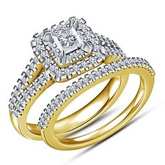 TVS-JEWELS Gorgeous Bridal Wedding Ring Set In 14k Gold Plated Sterling Silver Princess & Round Cut CZ (7.5)