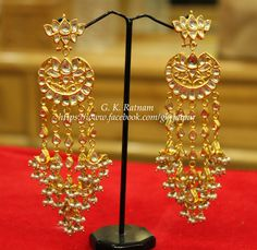 Kundan Meena Jewelry | Vilandi Jewelry | Diamond polki jewelry | Bridal | Traditional Indian Jewelry | Wedding Jewelry | Chand Bali | Chand Bala | Earrings | Jadau | Jadtar | gold diamond polki | meenakari | Chandelier