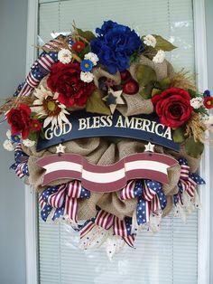 patriotic burlap wreaths | ... Patriotic, Americana in Burlap Deco Mesh Wreath with Red off White