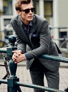 texture for the season // tweed, suit, menswear, mens, style, fashion, haircut, sunglasses, fall, winter