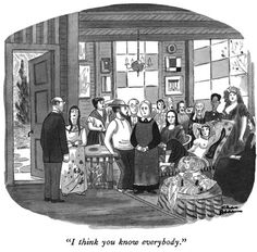 """""""I think you know everybody."""" from the book Creature Comforts by Charles Addams published 1981 Original Addams Family, Addams Family Cartoon, Addams Family Quotes, Addams Family Tv Show, Adams Family, Charles Addams, Mona Lisa, New Yorker Cartoons, The New Yorker"""